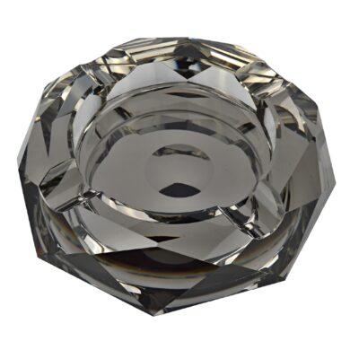 Doutníkový popelník křišťál Octagon černý 17,5cm, 4D(38003)
