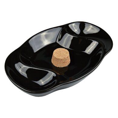 Dýmkový popelník na 2 dýmky keramický černý ovál(412020)
