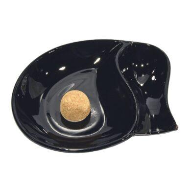 Dýmkový popelník skleněný malý, černý(34133)