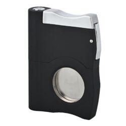 Doutníkový ořezávač a vyštípávač Angelo, černý-Dva v jednom - kvalitní kovový ořezávač na doutníky a vyštípávač Angelo. Precizně zpracovaný jednobřitý doutníkový ořezávač (gilotina) spolu s vyštípávačem v kovovém těle. Povrch těla je v elegantní  a příjemné matné úpravě. Po odjištění boční pojistky, vyjede ostří ořezávače a Vy můžete stiskem horní části doutník oříznout. Průměr otvoru na doutník je 2 cm. Na druhé boční straně je umístěn doutníkový vyštípávač s ostřím s dvěma průměry 0,6 a 0,8 cm. Každodenní pomůcka kuřáka doutníků, která by neměla chybět v jeho výbavě. Doutníkový ořezávač je dodávaný v dárkové krabičce. Rozměr ořezávače je 4,6x6,1 cm.