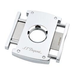 Doutníkový ořezávač S.T. Dupont chrome, 21mm-Luxusní ořezávač na doutníky S.T. Dupont. Kovové tělo dvoubřitého ořezávače s lesklým a hladkým chromovým povrchem je precizně vyrobené z ušlechtilé oceli. Stisknutím bočních tlačítek se čepele uvolní a ořezávač je připraven k použití. Dvojité velmi ostré gilotinové nože, jsou zárukou rychlého a čistého řezu doutníku. Exklusivitu ořezávači dává nejen logo S.T. Dupont na přední straně, ale kvalitně zpracovaný povrch a elegantní vzhled díky leštěnému chromu. Otvor na doutník má průměr 21mm. Rozměry ořezávače: 7x4,5cm . Ořezávač je dodáván v originální krabičce s logem.