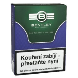 Dýmkový tabák Bentley The Planters Purpure, 50g-Kvalitní dýmkový tabák Bentley The Planters Purpure. Aromatizovaná středně silná směs připravená z viržinského tabáku a černého Cavendishe s ovocným chutí, pro kterou jsou typické jemné a příjemné tóny fialek a švestek. Tabák je balený v neprodyšně uzavřené folii a v papírové originální krabičce. Balení 50g.