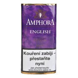 Dýmkový tabák Amphora English, 50g-Dýmkový tabák Amphora English. Lahodná tabáková dýmková směs kombinující jemné kouřové tóny Latakie s přirozenou skadkostí Virginie. Balení pouch 50g.