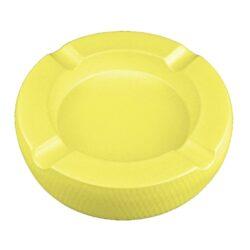 Doutníkový popelník keramický Passatore 4D, žlutý-Doutníkový popelník na 4 doutníky Passatore. Kulatý keramický popelník v matném žlutém provedení je po obvodu zdobený jemnou texturou. Masivní popelník na doutníky je na spodní straně vybavený plstěnými protiskluzovými podložkami, které současně zabraňují poškrábání plochy, na které je popelník položený. Šířka odkladového místa pro doutník je 2,1cm. Keramický popelník na doutníky je dodávaný v kartonové krabici. Rozměry popelníku: 20,3x20,3x5,1cm.