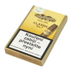 Doutníky Handelsgold Gold Label No.7, 5ks-Doutníky Handelsgold Gold Label No.7. Strojově vyráběné doutníky v menším formátu Senorita jsou bez přidaného aroma. Doutníky Handelsgold Gold Label No.7 charakterizuje vyvážená chuť vhodná pro méně náročné kuřáky. Tyto doutníky jsou vhodnou volbou v poměru cena/výkon, jsou dodávané po 5 ks v papírové krabičce a prodávají se pouze po celém balení.  Délka: 101 mm Průměr: 13 mm Tvar/velikost doutníku: Senorita Typ doutníku dle skladování: doutník suchý