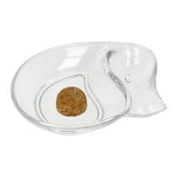 Dýmkový popelník na 1 dýmku sklo, transparentní-Dýmkový popelník s odkladem na jednu dýmky. Asymetricky řešený transparentní skleněný popelník je vybavený praktickým korkovým trnem na vyklepání dýmky a prostorem pro odložení. Oválný popelník na dýmku má rozměry 18x15x3,4cm. Dýmkový popelník je dodávaný v kartonové krabici.