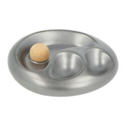 Dýmkový popelník keramický na 2 dýmky, stříbrný(34127)