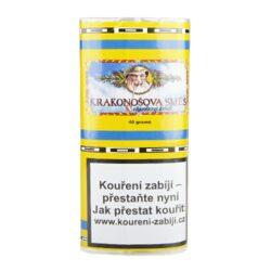 Dýmkový tabák Krakonošova směs, 40g/Z-Dýmkový tabák Krakonošova směs. Nejprodávanější tabák oblíbený pro svoji jemnost a chuť. V této směsi najdeme chutě Virginských a Burley tabáků, ke kterým jsou přidány výtažky z bylin. Krakonošova směs je vhodnou volbou pro každodenní kouření. Balení pouch 40g.