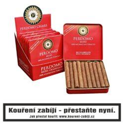 Doutníky Perdomo Mini Cigarillos Sun Grown, 20ks-Perdomo Minis jsou prémiová cigarilla vyrobená ze stoprocentního tabáku a balená krycím listem. Perdomo k jejich výrobě používá vlastní nikaragujský tabák a výsledkem jsou skvělá krátká cigára z blendu všech druhů tabákových listů. Perdomo Mini Cigarillos Sun Grown nabízí příjemný krátký kuřácký zážitek s plnou chutí. Krycí list je středně silný se zajímavě dřevitými tóny. Malé doutníčky Perdomo Mini Cigarillos Sun Grown jsou balené po 20 kusech v originální plechové krabičce a prodávají se pouze po celém balení.  Délka: 76,2 mm Průměr: 8,7 mm Velikost prstýnku: 22 Tvar/velikost doutníku: Cigarillos Doba kouření: 10 - 15 min.  Značka: Perdomo Původ doutníku: Nikaragua Krycí list: Sun Grown Vázací list: Nikaragua Náplň: Nikaragua Typ doutníku dle skladování: doutník vlhký