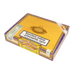 Doutníky Partagas Lusitanias, 25ks-Kubánské doutníky Partagas Lusitanias. Pro mnohé je ručně balený doutník Lusitanias jedničkou mezi doutníky. Kubánské doutníky Partagas jsou vyráběné z kvalitních tabákových listů, které zaručují výbornou chuť a kvalitu těchto doutníků. Pro doutník Lusitania, který patří mezi dlouhé doutníky formátu Double Corona je typická jeho tmavá barva a příjemná chuť kávy, kůže, cedru, karamelu spolu s jemnými bylinnými tóny. U každého znalce doutníků si tento doutník jistě najde své místo v humidoru. Doba hoření je cca 75-90 minut. Doutníky Partagas Lusitanias jsou balené po 25 ks a jsou dodávané v originálním cedrovém boxu. Prodávají se pouze po celém balení.  Délka: 194 mm Průměr: 19,45 mm Velikost prstýnku: 49 Tvar/velikost doutníku: Prominentes, Double Corona Typ doutníku dle skladování: doutník vlhký  Původ doutníku: Kuba Krycí list: Colorado Maduro Vázací list: Kuba natural - Vuelta Abajo Náplň: Kuba natural - Vuelta Abajo Síla tabáku: full