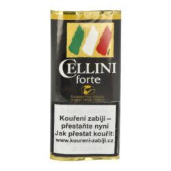 Dýmkový tabák Cellini Forte, 50g-Kvalitní a oblíbený dýmkový tabák Cellini Forte. Středně silný tabák, namíchaný z Burley, Black Cavendish a Virginie tabáků. Chuť je zvýrazněna červeným italským vínem Barolo. Balení pouch 50g.