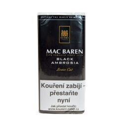 Dýmkový tabák Mac Baren Black Ambrosia, 50g-Velmi kvalitní a oblíbený dýmkový tabák Mac Baren. Směs dvakrát fermentovaného virginského a Burley tabáků se střední sílou a velmi výrazným aroma. Balení pouch 50g.