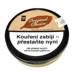 Dýmkový tabák Mac Baren Original Choice, 100g-Dýmkový tabák Mac Baren Original Choice. Směs je namíchána z jemného Burley, virginského tabáku s jemnou a čistou přírodní chutí. Tato dýmková směs je vhodná pro začínající a mladé kuřáky. Balení plechová krabička 100g.