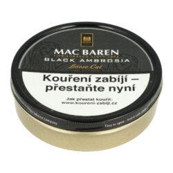 Dýmkový tabák Mac Baren Black Ambrosia, 100g-Velmi kvalitní a oblíbený dýmkový tabák Mac Baren. Směs dvakrát fermentovaného virginského a Burley tabáků se střední sílou a velmi výrazným aroma. Balení plechová krabička 100g.