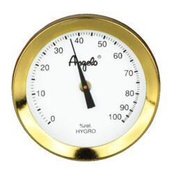 Vlhkoměr Angelo s magnetem, 52mm-Standardní vlhkoměr Angelo do humidoru. Pro uchycení do humidoru slouží magnet se samolepkou. Barva zlatá. Vnější průměr: 52 mm Vnitřní průměr: 48 mm