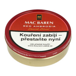 Dýmkový tabák Mac Baren Cherry Ambrosia, 100g-Dýmkový tabák Mac Baren Cherry Ambrosia. Vyvážená a chutná dýmková směs s menším množstvím tabáku Burley a převahou tabáku Virginie s velmi jemným a málo znatelným aroma. Balení plechová krabička 100g.