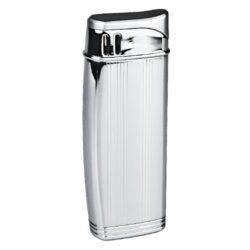 Zapalovač Hadson Solid, chrom-rýhy-Elegantní zapalovač Hadson. Kovový zapalovač s gravírovaným povrchem v lesklé chromovém provedení a horní broušenou částí. Ve spodní části je umístěn plynový plnící ventil a regulace intenzity plamene. Zapalovač je dodávaný v dárkové krabičce. Výška zapalovače 7cm.