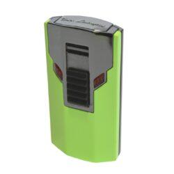Tryskový zapalovač Lamborghini Estremo, zelený-Elegantní tryskový zapalovač Tonino Lamborghini Estremo. Kvalitně zpracovaný zapalovač obsahuje na spodní straně nastavení intenzity plamene a ventil pro plnění. Na zadní straně najdete okénko, kde je možné vidět hladinu plynu v zapalovači. Tryskový zapalovač je dodáván v kožené krabičce vyložené jemným sametem. Ideální jako dárek pro kuřáky cigaret. Výška 7cm.