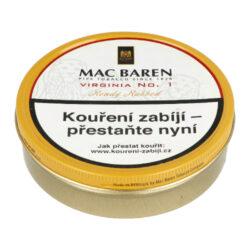 Dýmkový tabák Mac Baren Virginia No.1, 100g-Dýmkový tabák Mac Baren Virginia No.1. Směs spíše přírodního typu z vybraných listů zlaté Virginie s jemným sladkým aroma. Balení plechová krabička 100g.