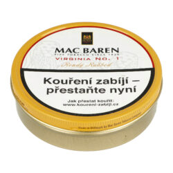 Dýmkový tabák Mac Baren Virginia No.1, 100g-Velmi kvalitní a oblíbený dýmkový tabák Mac Baren. Směs spíše přírodního typu z vybraných listů zlaté Virginie s jemným sladkým aroma. Balení plechová krabička 100g.
