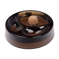 Dýmkový popelník skleněný, tmavě hnědý-Dýmkový popelník s odkladem na dvě dýmky, skleněný. Kulatý popelník na dýmku má průměr 16cm.