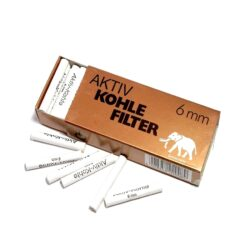 Filtr do dýmky White Elephant 6mm, uhlíkové, 45ks-Uhlíkové filtry do dýmky White Elephant. Filtr do dýmky má průměr 6mm. Tyto dýmkové filtry na bázi aktivního uhlí Vám dopřejí velmi jemnou chuť a požitek z kouření. V balení 45 ks filtrů.