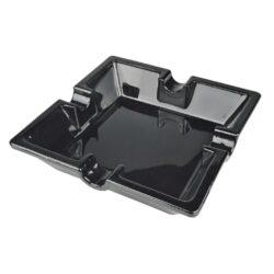 Doutníkový popelník skleněný Angelo, černý-Čtvercový skleněný doutníkový popelník pro čtyři doutníky. Rozměr 160x160mm. Provedení: černé.