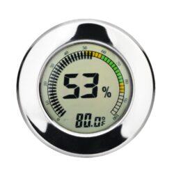 Vlhkoměr Angelo, 65mm, digitální-Digitální vlhkoměr Angelo, kterým přesně zjistíte okamžitou vlhkost v humidoru. Na displeji se zobrazuje aktuální vlhkost a teplota (°C/°F). Vlhkoměr je uchycený v humidoru na magnet. Balení obsahuje vlhkoměr, 1x baterie, magnety. Provedení: chrom.  Vnější průměr: 65 mm Vnitřní průměr: 60 mm