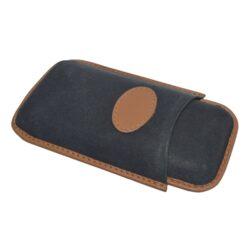 Pouzdro na 2 doutníky Etue Robusto, černohnědé, kožené-Pouzdro na dva doutníky (Etue). Pouzdro na doutníky je dlouhé 145mm, průměr 25mm. Doutníkové pouzdro je kožené.