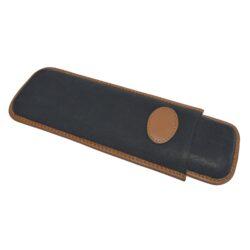 Pouzdro na 2 doutníky Etue Double Corona, černohnědé, kožené-Pouzdro na dva doutníky (Etue). Pouzdro na doutníky je dlouhé 215mm, průměr 22mm. Doutníkové pouzdro je kožené.