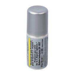 Plyn do zapalovače S.T. DuPont, žlutý-Prémiový plyn do zapalovače S.T. DuPont. Tento plyn je určen pro zapalovače S.T. DuPont řady Ligne 1 small, Ligne 2. Plnicí hrot je plastový. Z jednoho balení plynu S.T. DuPont naplníte zapalovač 3 - 8krát dle typu. Balení 30ml.  Plnění zapalovače:  Zapalovač je nutné obrátit plnícím ventilem vzhůru a poté našroubovat plyn. Závit plynové náplně se protáčí, závit nedojde do konce, jen nepatrně ztuhne. Po našroubování je nutné zapalovač a plyn stisknout silou proti sobě a tím se zapalovač naplní.
