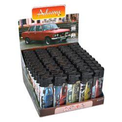 Zapalovač Adamo Turbo Retro Cars-Žhavící zapalovač. Zapalovač je plnitelný. Prodej pouze po celém balení (displej) 50 ks. Výška zapalovače 7,5cm.