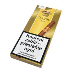 Doutníky Handelsgold Gold Label No.3, 5ks-Doutníky Handelsgold Gold Label No.3. Doutníky jsou balené po 5 doutnících v papírové krabičce. Délka 166mm, průměr 14mm. Balení: 5 ks krabiček.