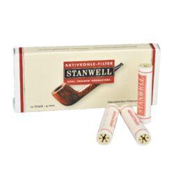 Filtry do dýmky, Stanwell, 10ks, 9mm-Celokeramické filtry do dýmky 9mm. Uhlíkový filtr do dýmky je vyroben z nechlorovaného filtrového papíru a je naplněn aktivním uhlím. Dýmkové filtry Stanwell mají velmi dobré absorpční schopnosti, výborně zachycují dehet z kondezátu a další škodliviny z tabáku. Tyto filtry do dýmky vám dopřejí suché a chladné kouření. V balení 10 ks filtrů.